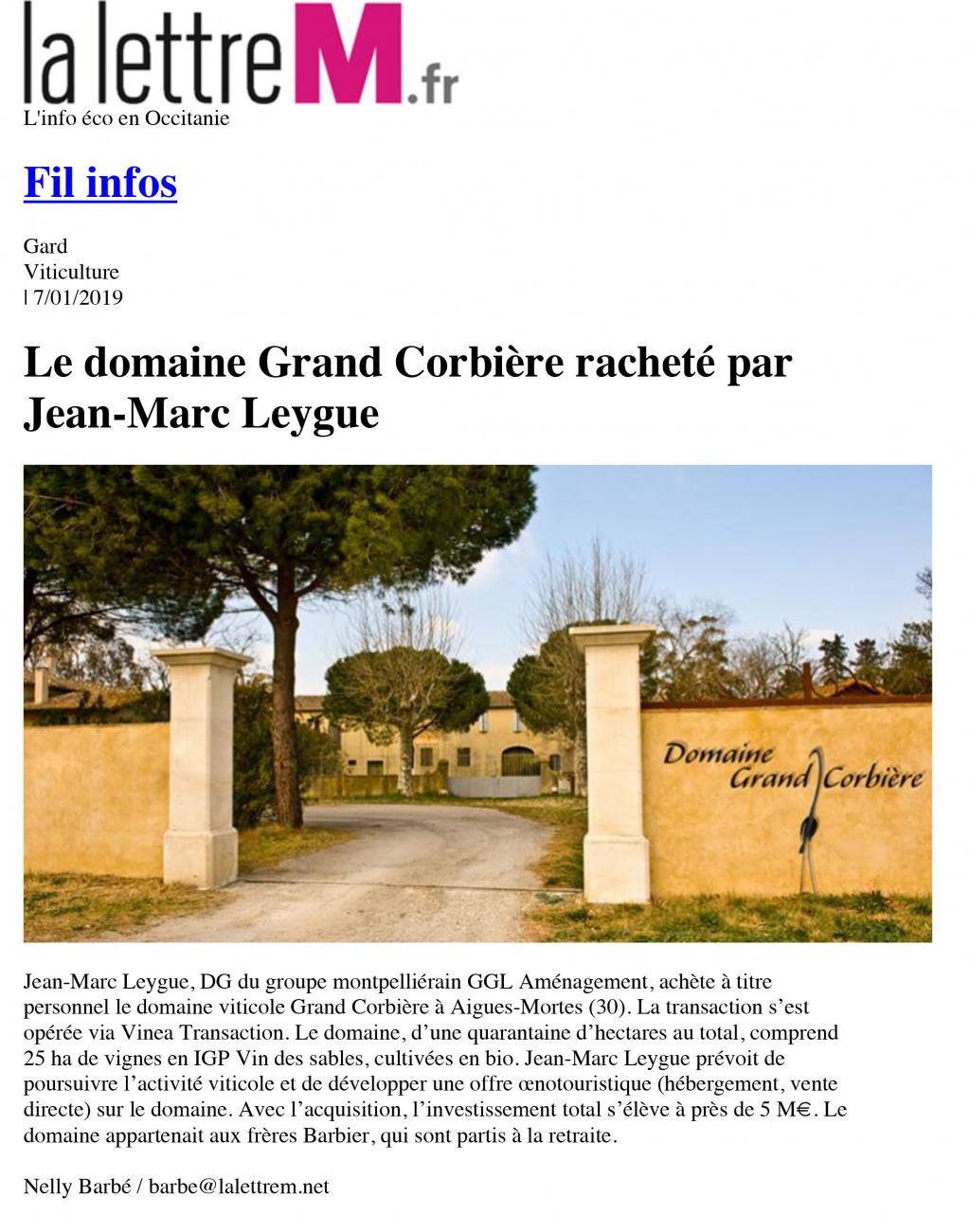 Le domaine Grand Corbière racheté par Jean-Marc Leygue