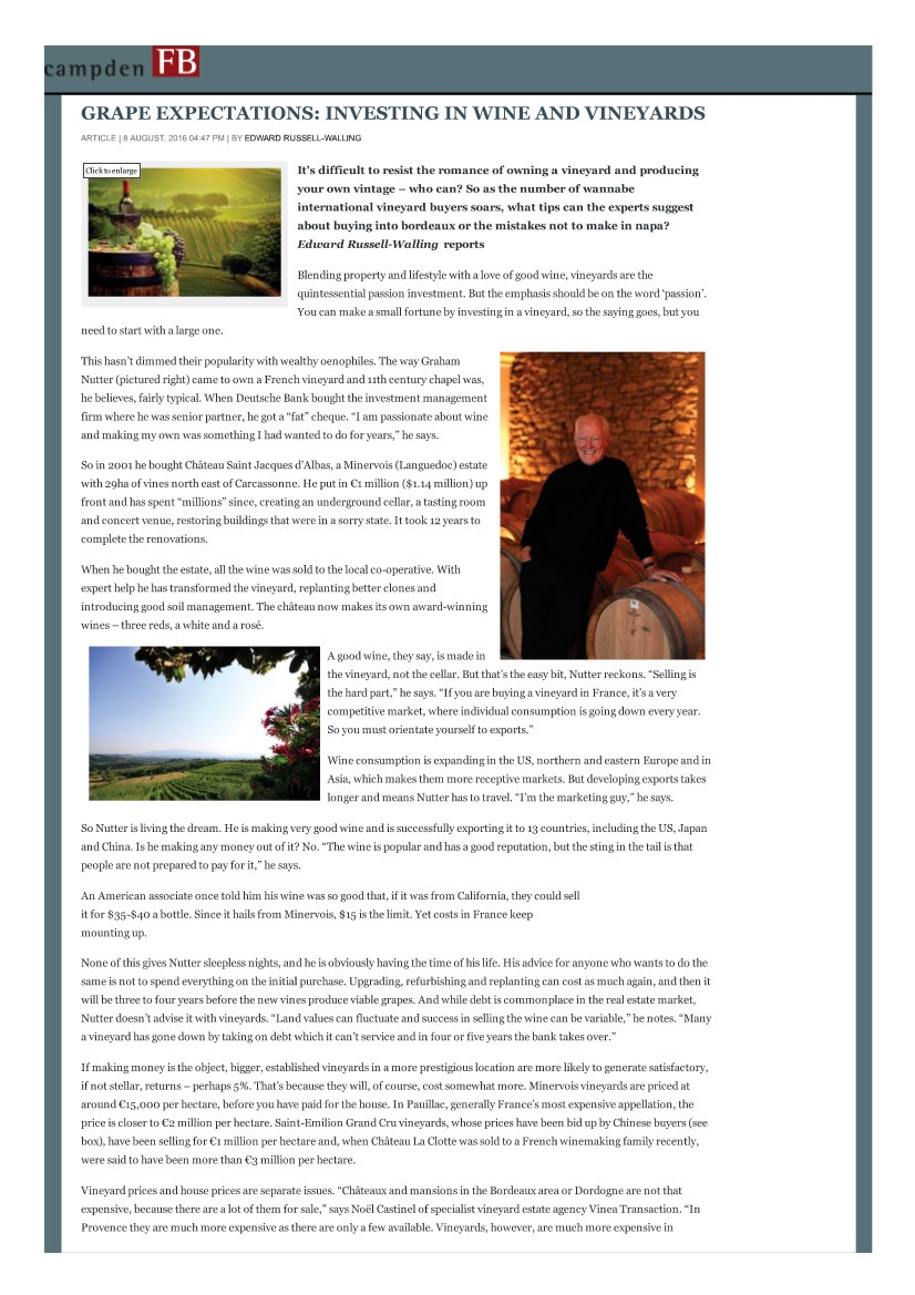 GRAPE EXPECTATIONS: INVESTING IN WINE AND VINEYARDS