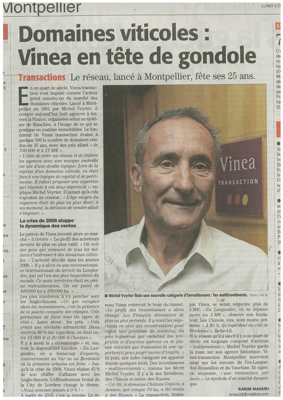 Domaines viticoles: Vinea Transaction en tête de gondole
