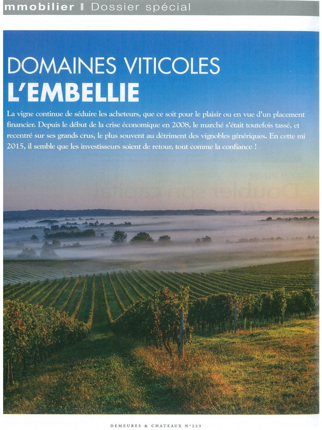 Domaines viticoles, l'embellie