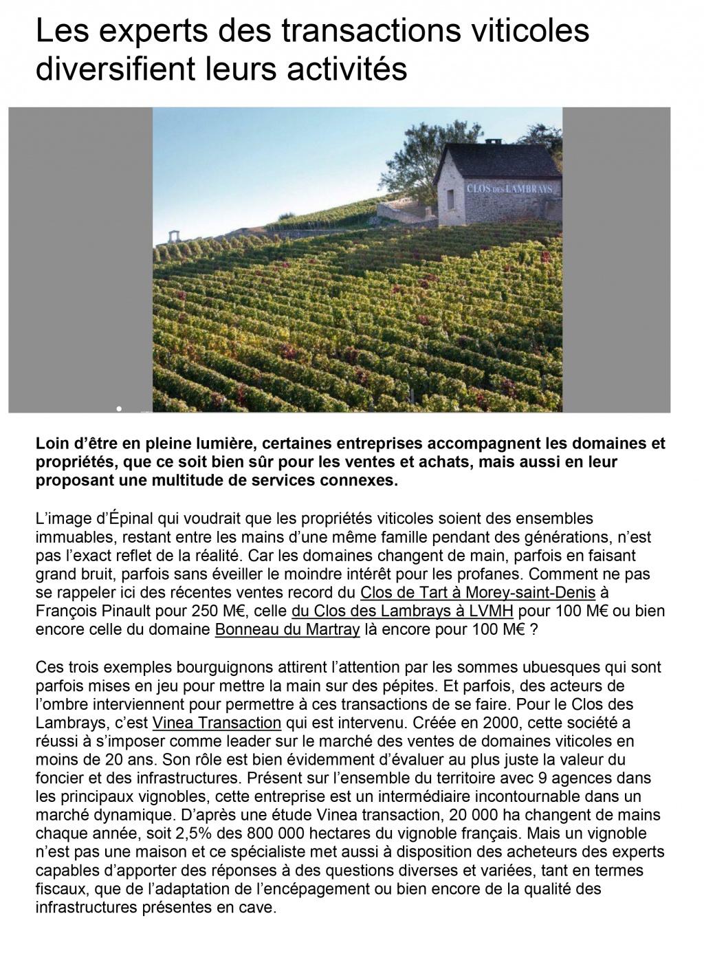 Terre de Vins – Vinea Transaction un acteur majeur sur le marché du foncier viticole