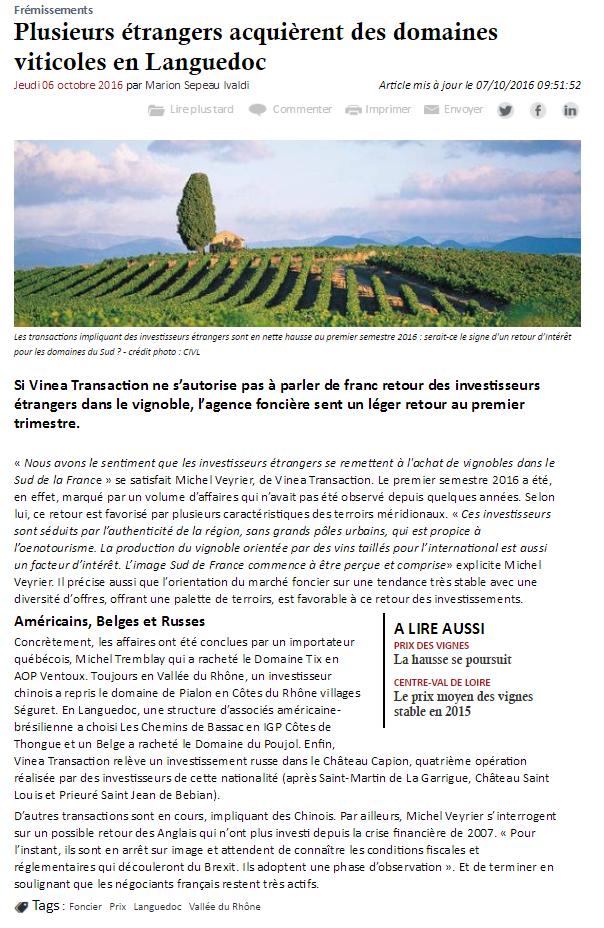 Plusieurs étrangers acquièrent des domaines viticoles en Languedoc