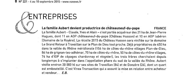 La famille Aubert devient productrice de châteauneuf-du-pape