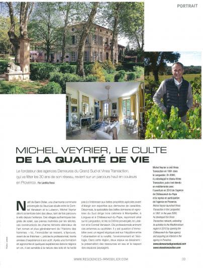 Résidences Immobilier: Michel Veyrier, le culte de la qualité de vie