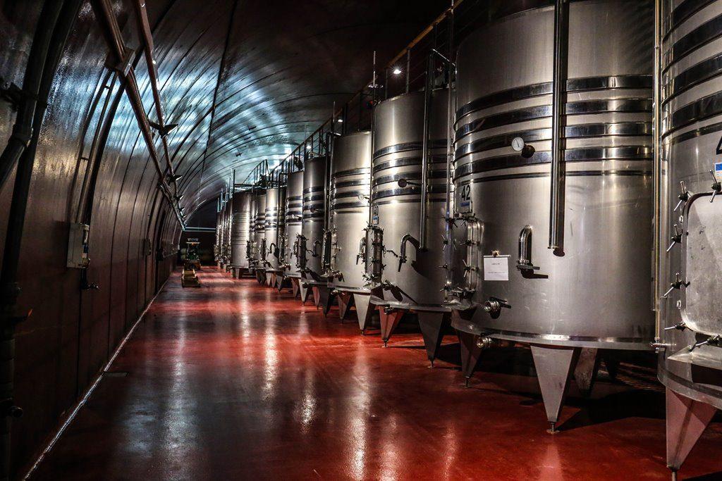 cave de vinification moderne avec cuves en inox